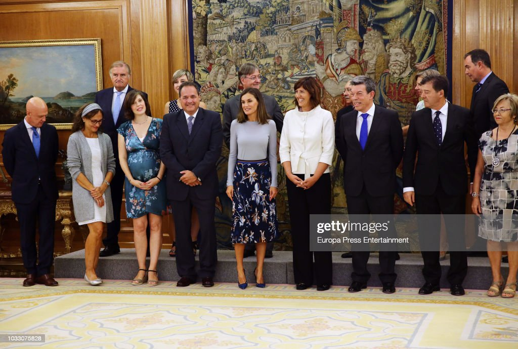 Queen Letizia of Spain attends audiences at Zarzuela Palace at Zarzuela Palace on September 14, 2018 in Madrid, Spain.