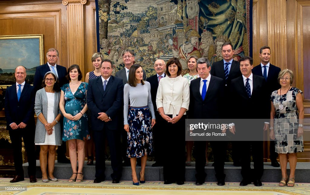 Queen Letizia of Spain attends audiences at Zarzuela Palace on September 14, 2018 in Madrid, Spain.