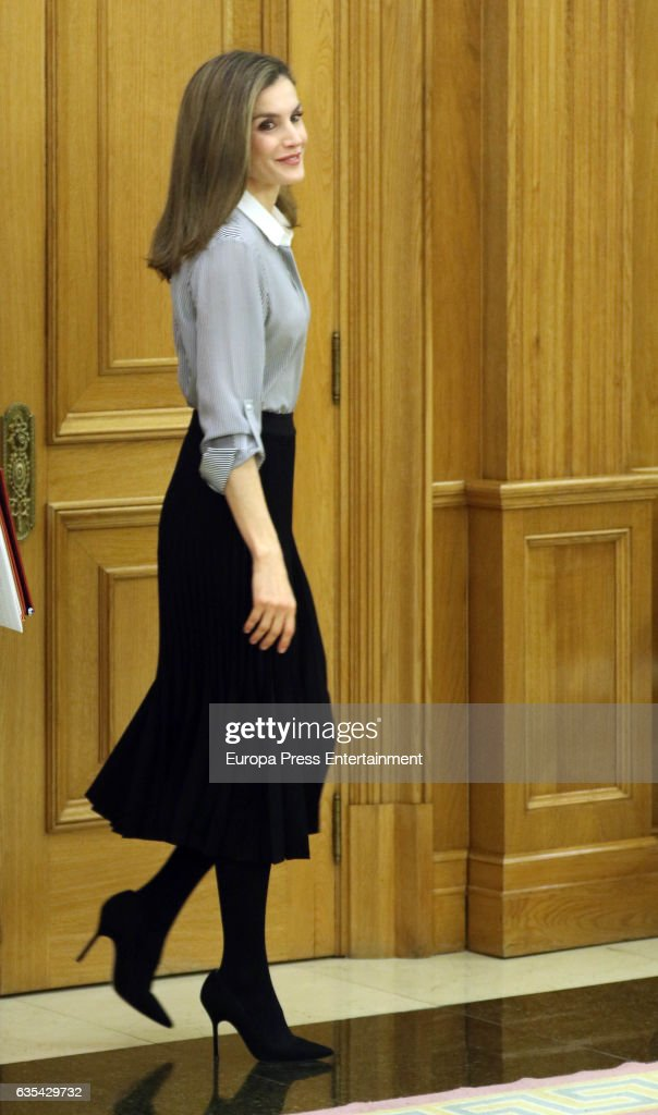 Queen Letizia Attends Audiences at Zarzuela palace : News Photo