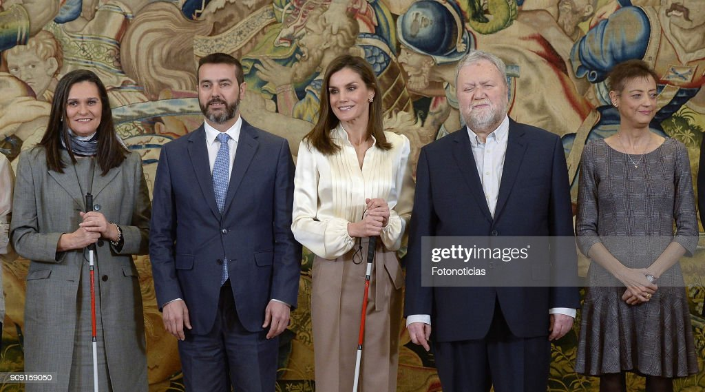 Queen Letizia Of Spain Attend Audiences At Zarzuela Palace