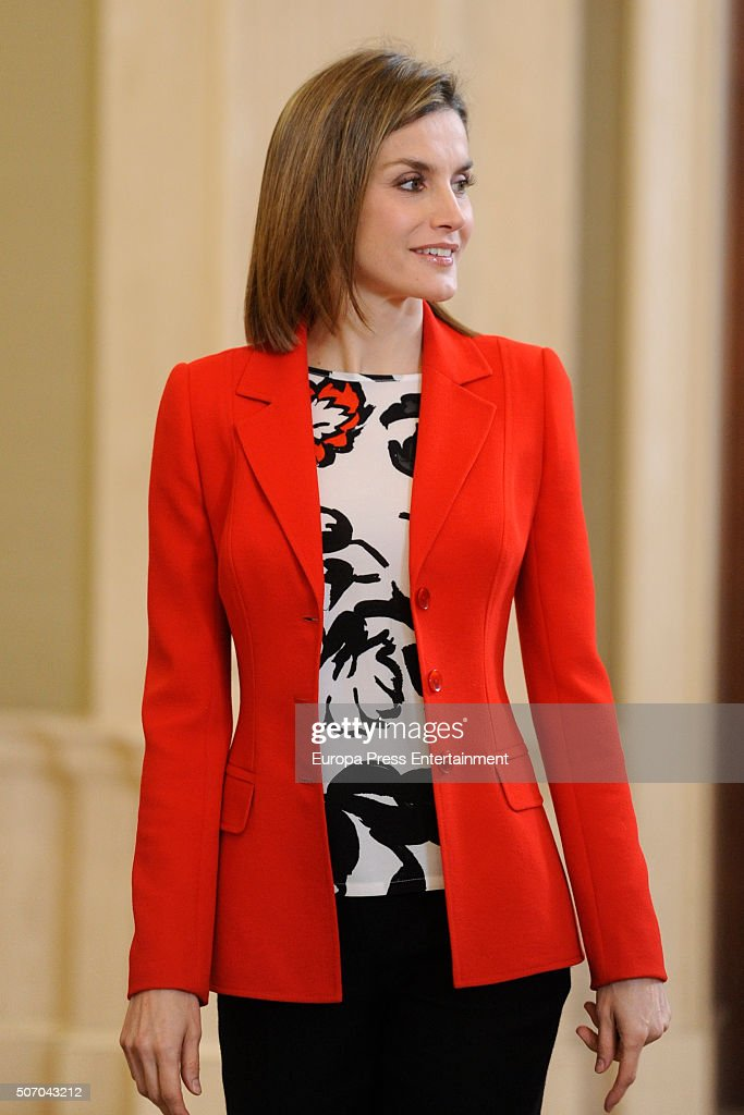 Queen Letizia of Spain attends audiences at Zarzuela Palace on January 26, 2016 in Madrid, Spain.