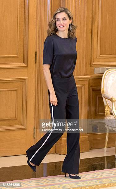 Queen Letizia of Spain attends audiences at Zarzuela Palace on October 27 2016 in Madrid Spain