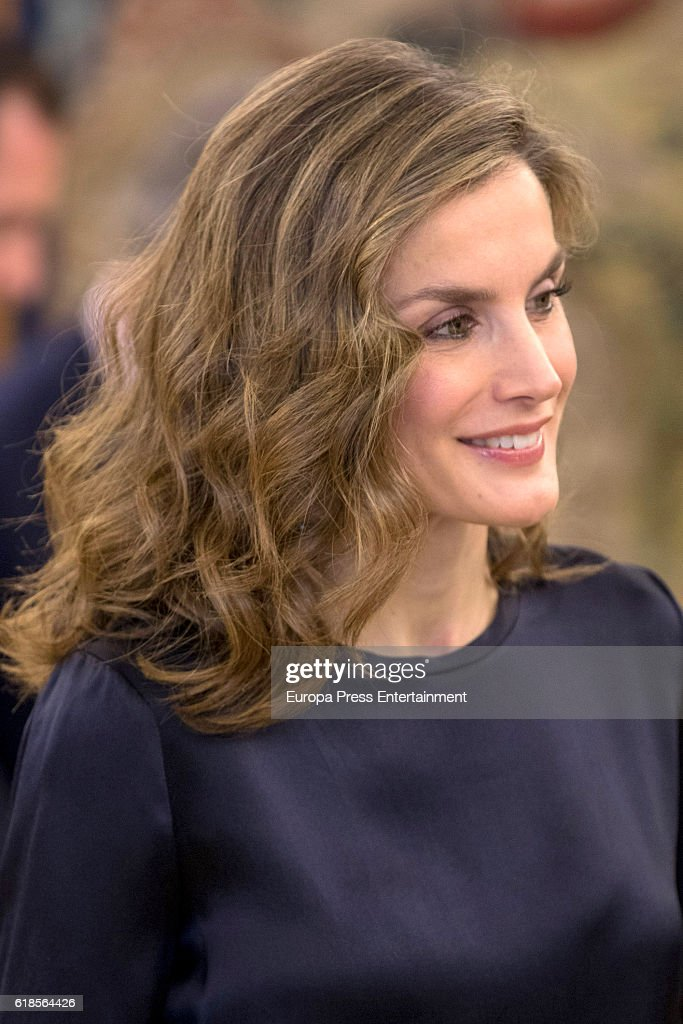 Queen Letizia of Spain attends audiences at Zarzuela Palace on October 27, 2016 in Madrid, Spain.