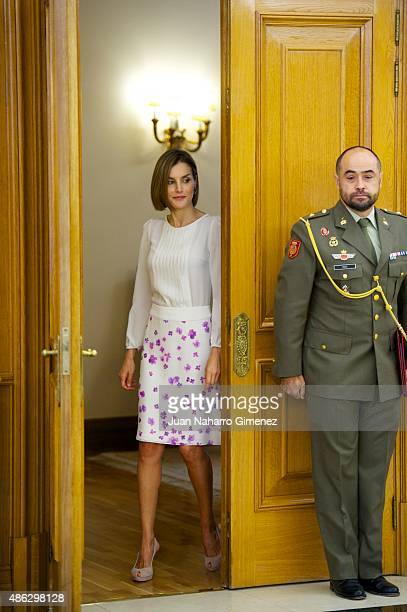 Queen Letizia of Spain attends audiences at Zarzuela Palace on September 3 2015 in Madrid Spain