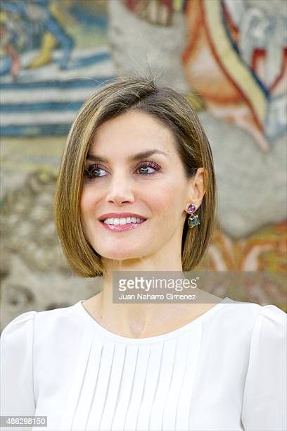 Queen Letizia of Spain attends audiences at Zarzuela Palace on September 3, 2015 in Madrid, Spain.