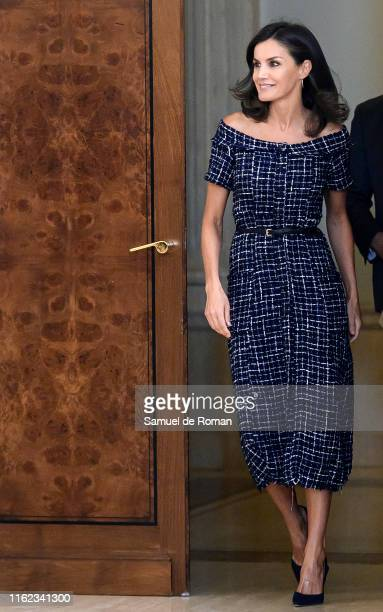 Queen Letizia of Spain attends audiences at Zarzuela Palace on July 16 2019 in Madrid Spain