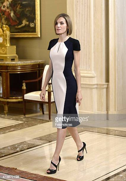 Queen Letizia of Spain attends Audiences at Zarzuela Palace on May 18 2015 in Madrid Spain
