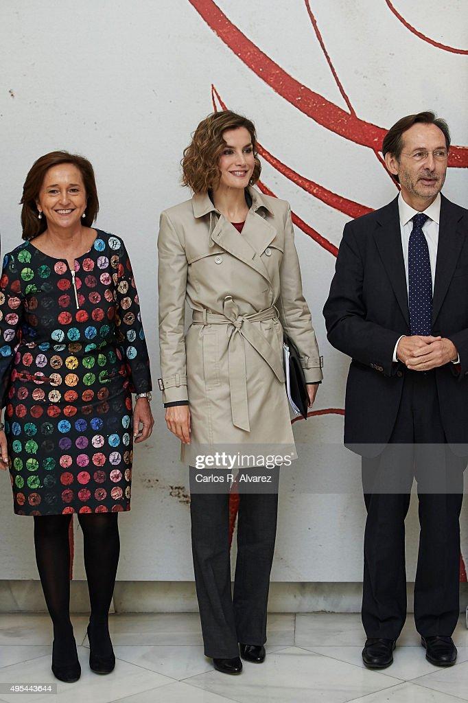 Queen Letizia of Spain (C) attends 'Cooperacion Espanola 2030. Espana y la nueva agenda de desarrollo sostenible' seminar at the National Library on November 3, 2015 in Madrid, Spain.