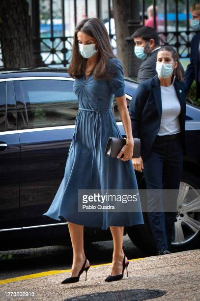 Queen Letizia of Spain attends 'Delibes' exhibition at the National Library on September 17 2020 in Madrid Spain
