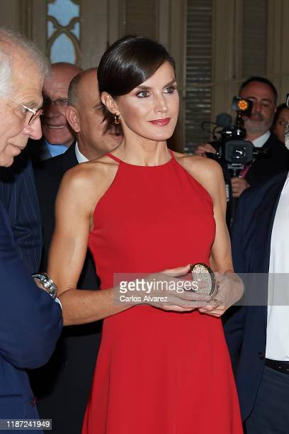 Queen Letizia of Spain attends 'Espana y Cuba Contigo en la Distancia' exhibition at Alicia Alonso Gran Theater on November 12 2019 in La Havana Cuba...