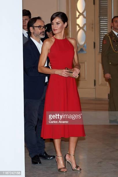 Queen Letizia of Spain attends 'Espana y Cuba Contigo en la Distancia' exhibition at Alicia Alonso Gran Theater on November 12 2019 in La Havana Cuba...
