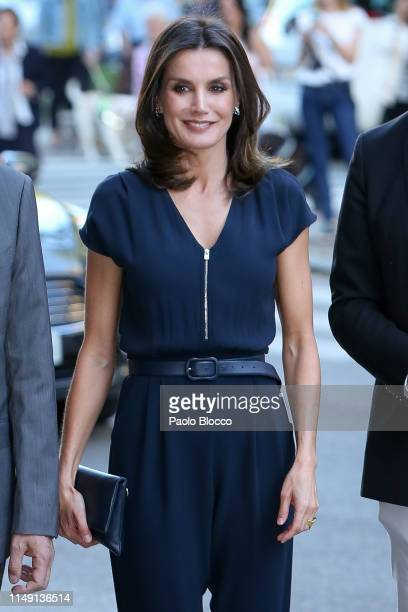 Queen Letizia of Spain attends 'Famelab Espana 2019' Scientific Monologues presentation at Gran Maestre Theatre on May 14, 2019 in Madrid, Spain.