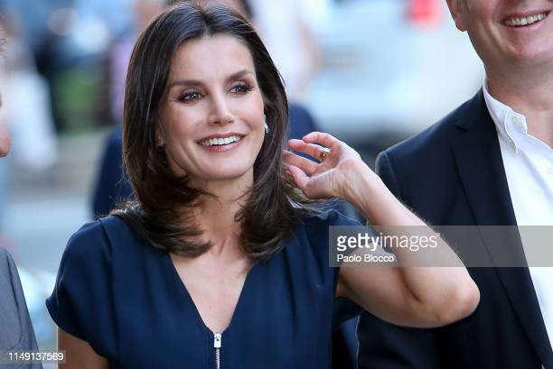 Queen Letizia of Spain attends 'Famelab Espana 2019' Scientific Monologues presentation at Gran Maestre Theatre on May 14 2019 in Madrid Spain