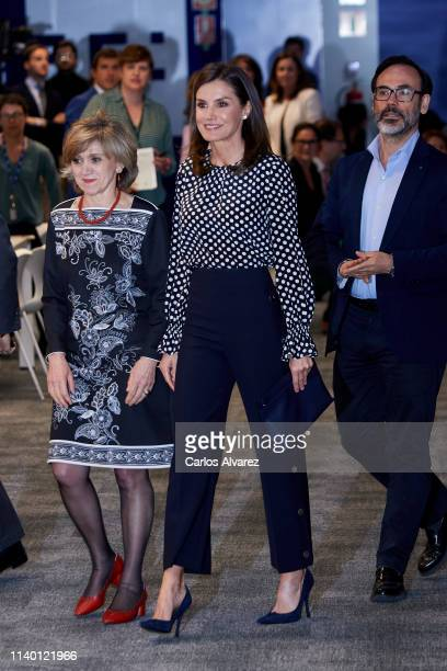 Queen Letizia of Spain attends 'Medios De Comunicacion Y Salud Mental' an event related to mass media and mental health at EFE Agency Headquarters on...