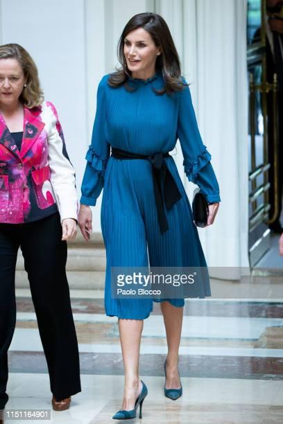 Queen Letizia of Spain attends 'Microfinanzas BBVA' Foundation debate at BBVA on May 23 2019 in Madrid Spain