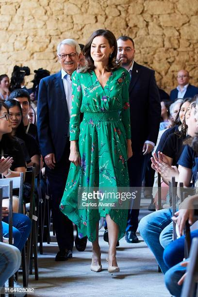 Queen Letizia Of Spain attends Musical School summer courses opening at the Archeological Museum on July 25 2019 in Oviedo Spain