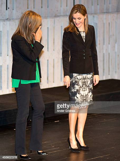 Queen Letizia of Spain attends next to Spanish Minister for Health Ana Mato 'V De Vida' Award on September 17 2014 in San Sebastian Spain
