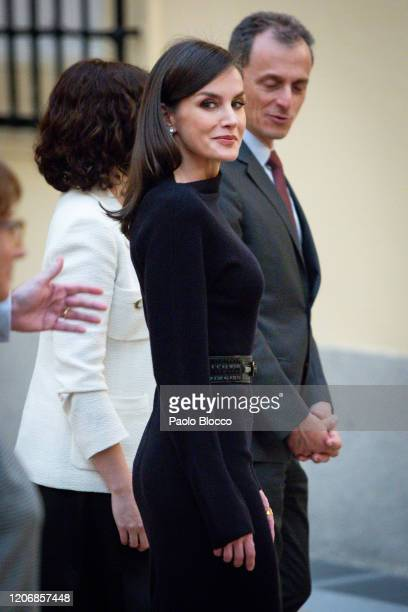 Queen Letizia of Spain attends 'Premios Nacionales De Investigacion' awards 2019 at the El Pardo Palace on February 17, 2020 in Madrid, Spain.