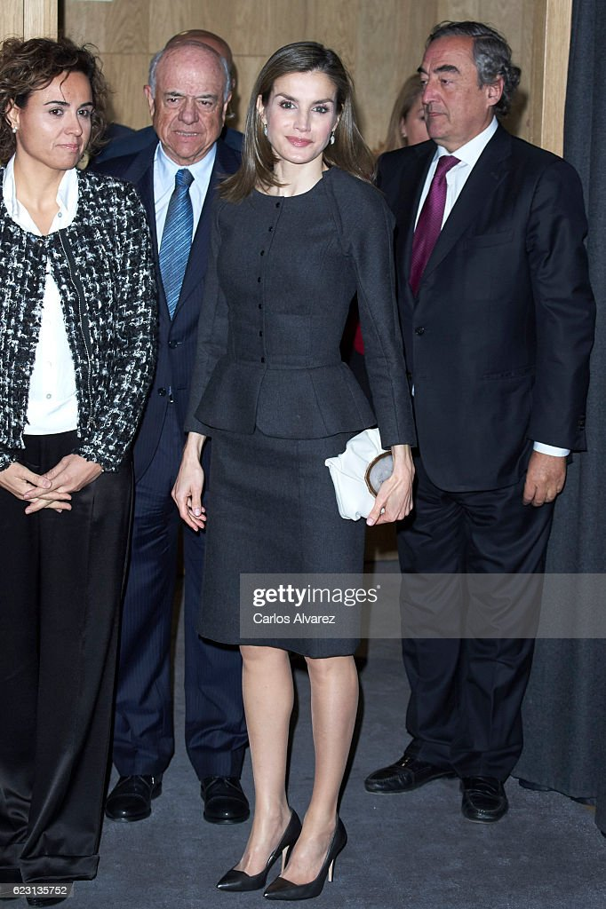Queen Letizia of Spain attends 'Proyecto Promociona' meeting at BBVA Bank on November 14, 2016 in Madrid, Spain.