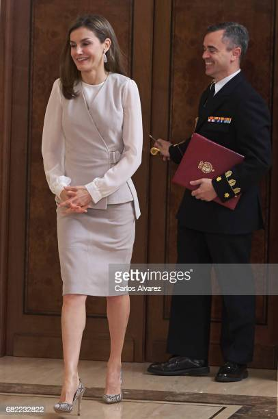 Queen Letizia of Spain attends several audicences at the Zarzuela Palace on May 12 2017 in Madrid Spain