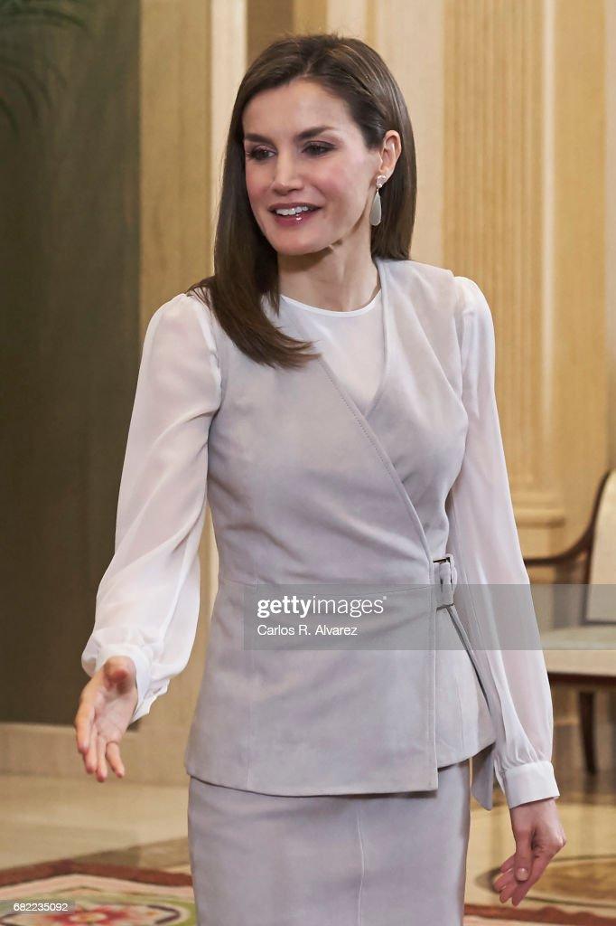 Queen Letizia Attend Audiences At Zarzuela Palace : News Photo