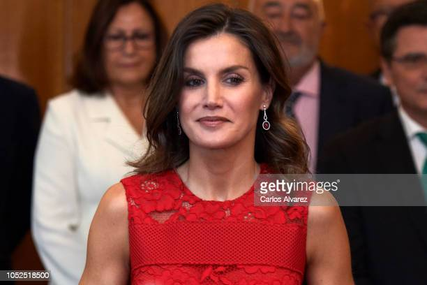 Queen Letizia of Spain attends several audiences at the Reconquista Hotel during the 'Princesa De Asturias' awards 2018 on October 19 2018 in Oviedo...
