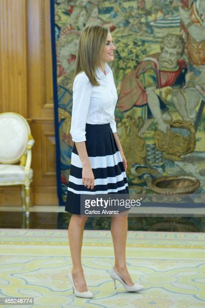 Queen Letizia of Spain attends several audiences at the Zarzuela Palace on September 11 2014 in Madrid Spain