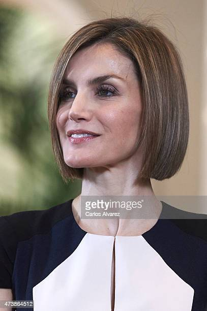 Queen Letizia of Spain attends several audiences at the Zarzuela Palace on May 18 2015 in Madrid Spain