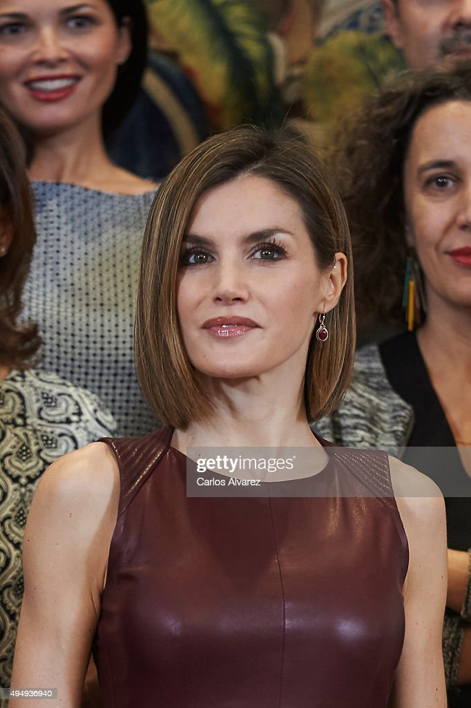 Queen Letizia of Spain Attends Audiences at Zarzuela Palace : News Photo