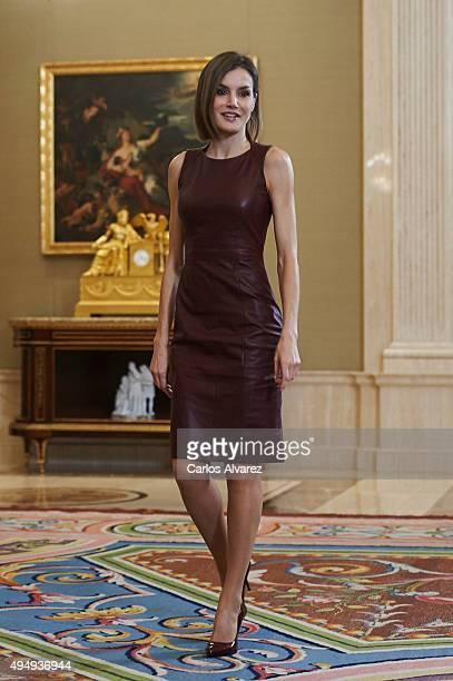 Queen Letizia of Spain attends several audiences at the Zarzuela Palace on October 30 2015 in Madrid Spain
