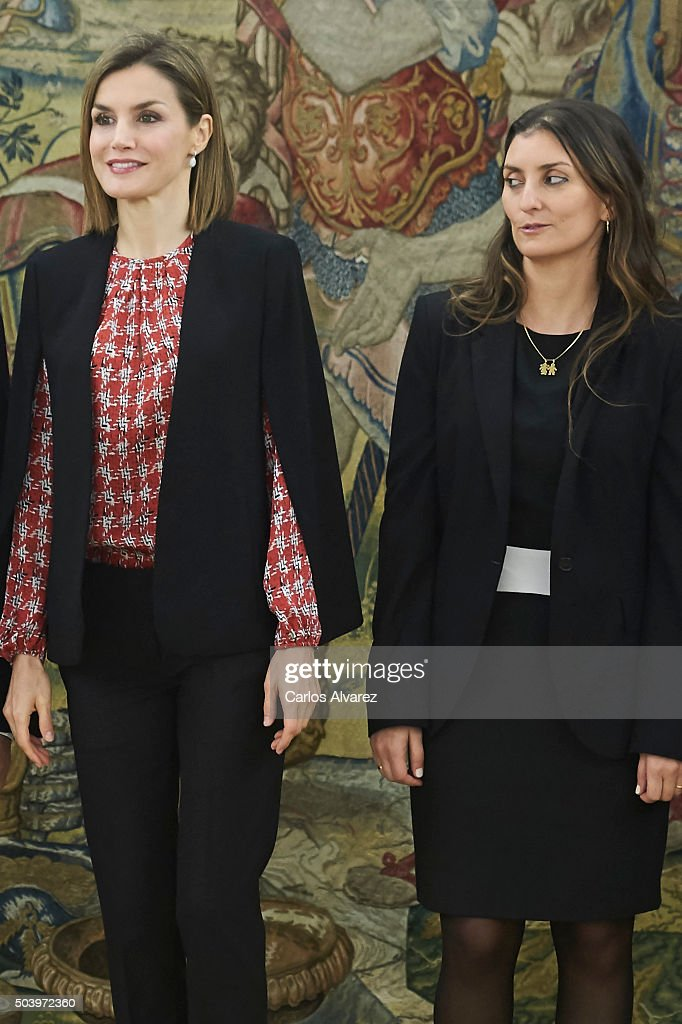 Queen Letizia of Spain (L) attends several audiences at the Zarzuela Palace on January 8, 2016 in Madrid, Spain.