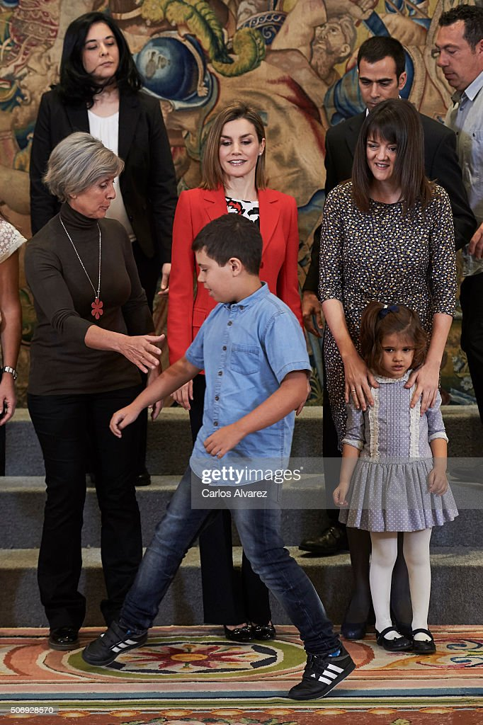 Queen Letizia of Spain (C) attends several audiences at the Zarzuela Palace on January 26, 2016 in Madrid, Spain.