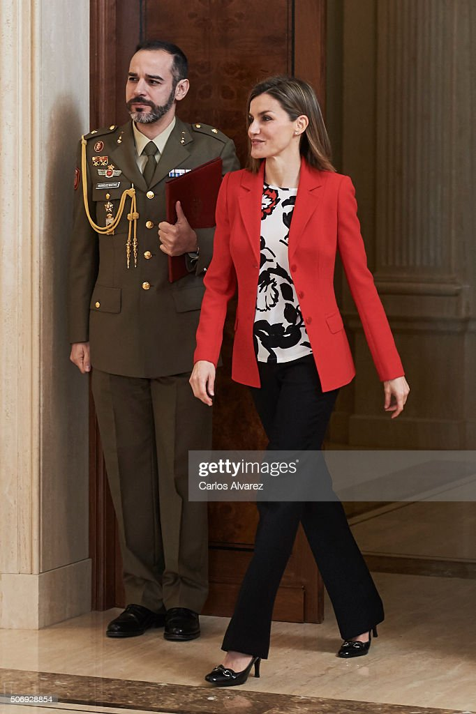 Queen Letizia of Spain (R) attends several audiences at the Zarzuela Palace on January 26, 2016 in Madrid, Spain.