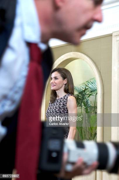 Queen Letizia of Spain attends several audiences at the Zarzuela Palace on June 8 2017 in Madrid Spain