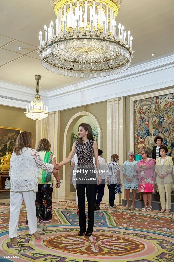 Queen Letizia Attends Audiences At Zarzuela Palace in Madrid : News Photo