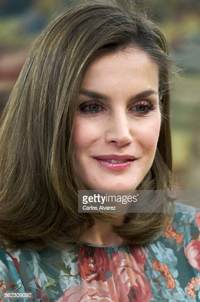 Queen Letizia of Spain attends several audiences at the Zarzuela Palace on October 17 2017 in Madrid Spain