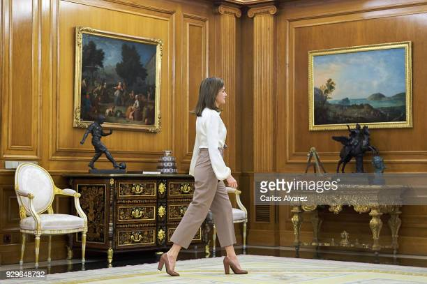 Queen Letizia of Spain attends several audiences at the Zarzuela Palace on March 9, 2018 in Madrid, Spain.