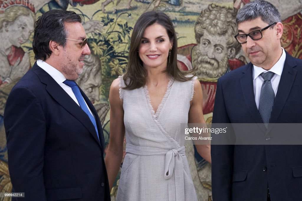 Queen Letizia Of Spain Attends Audicences At Zarzuela Palace