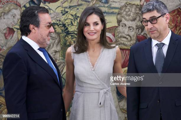 Queen Letizia of Spain attends several audiences at Zarzuela Palace on July 12 2018 in Madrid Spain