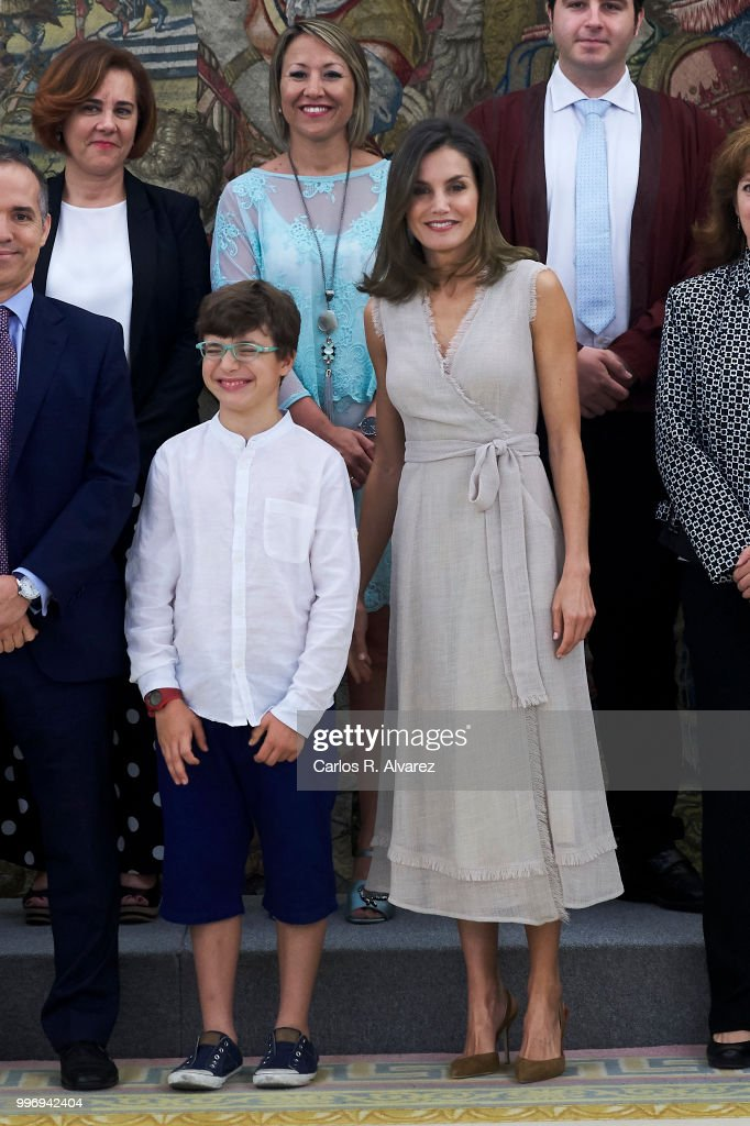 Queen Letizia of Spain attends several audiences at the Zarzuela Palace on July 12, 2018 in Madrid, Spain.