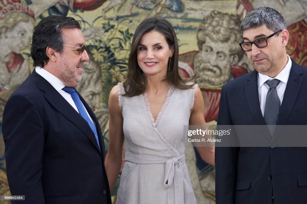 Queen Letizia of Spain attends (C) several audiences at the Zarzuela Palace on July 12, 2018 in Madrid, Spain.