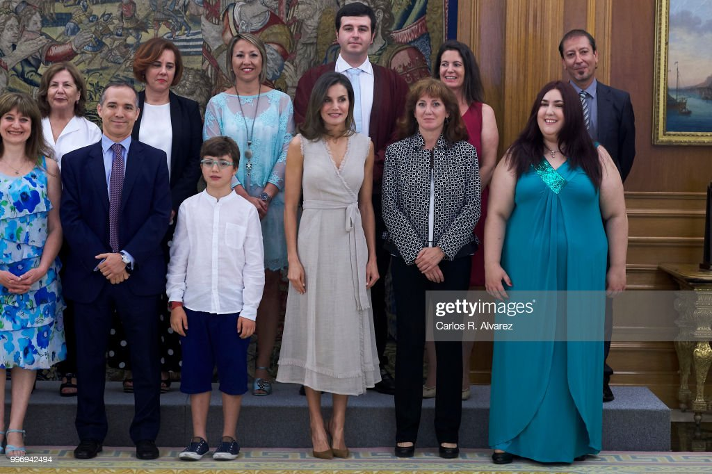 Queen Letizia of Spain (C) attends several audiences at the Zarzuela Palace on July 12, 2018 in Madrid, Spain.