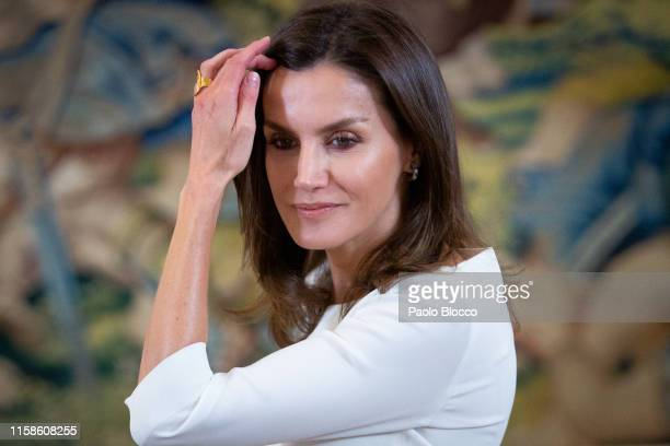 Queen Letizia of Spain attends several audiences at Zarzuela Palace on June 27 2019 in Madrid Spain