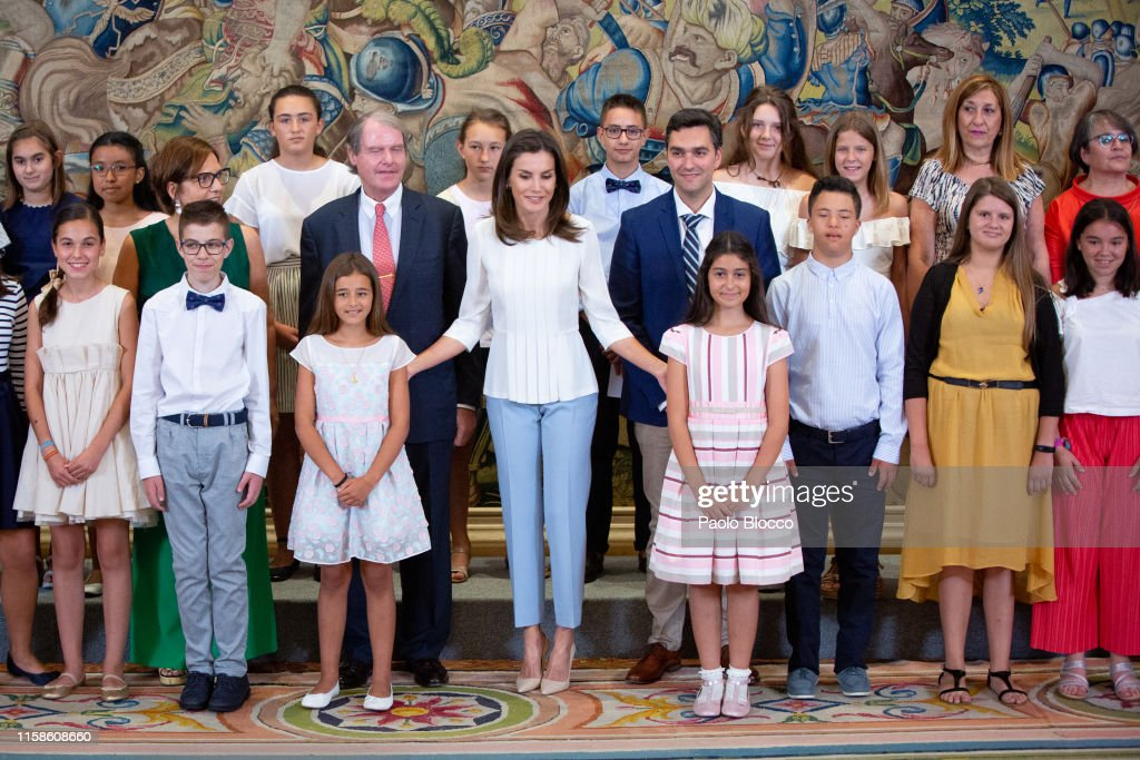 Queen Letizia Of Spain Attends Several Audiences At Zarzuela Palace : News Photo