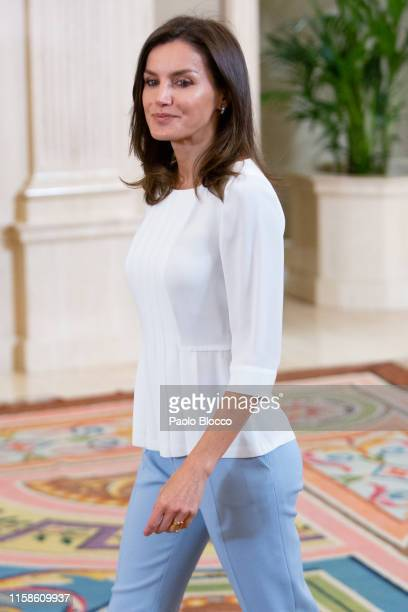 Queen Letizia of Spain attends several audiences at Zarzuela Palace on June 27, 2019 in Madrid, Spain.