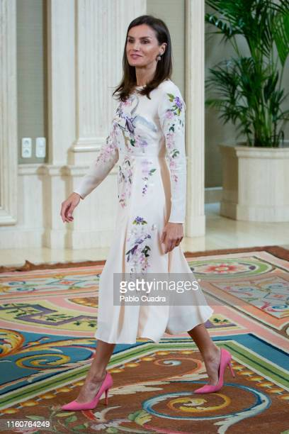 Queen Letizia of Spain attends several audiences at Zarzuela Palace on July 08 2019 in Madrid Spain