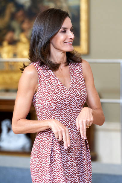 ESP: Queen Letizia of Spain Attend Audiences At Zarzuela Palace