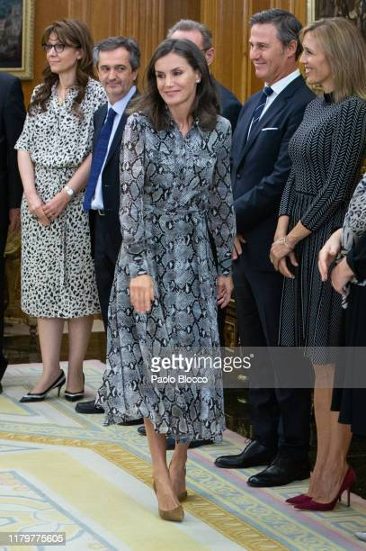Queen Letizia of Spain attends several audiences at Zarzuela Palace on October 08 2019 in Madrid Spain