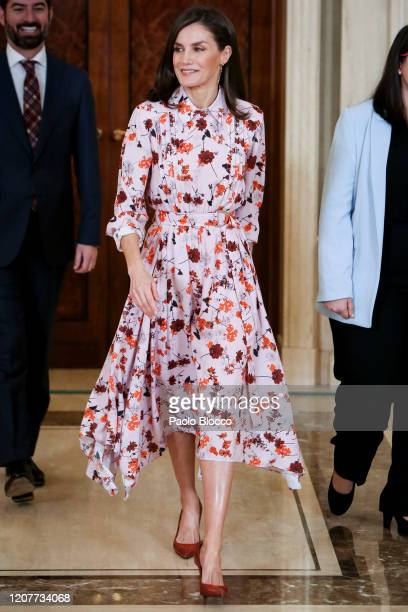 Queen Letizia of Spain attends several audiences at Zarzuela Palace on February 21, 2020 in Madrid, Spain.
