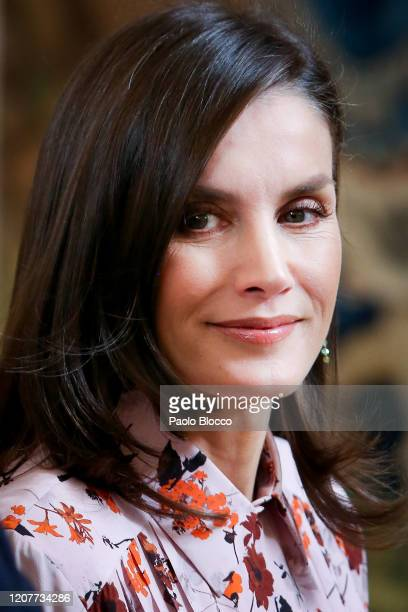 Queen Letizia of Spain attends several audiences at Zarzuela Palace on February 21 2020 in Madrid Spain